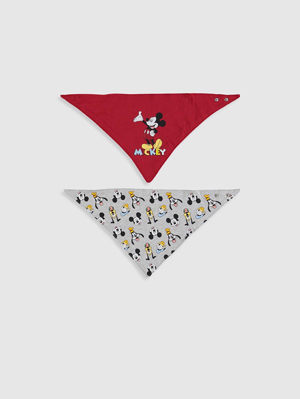 Kırmızı Erkek Bebek Mickey Mouse Baskılı Mama Önlüğü 2'li 0SG152Z1 LC Waikiki