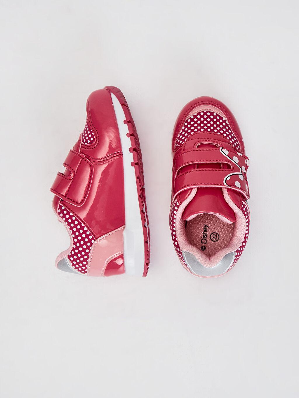 %0 Diğer malzeme (poliüretan) %0 Tekstil malzemeleri (%100 poliester)  Kız Bebek Minnie Mouse Baskılı Günlük Spor Ayakkabı