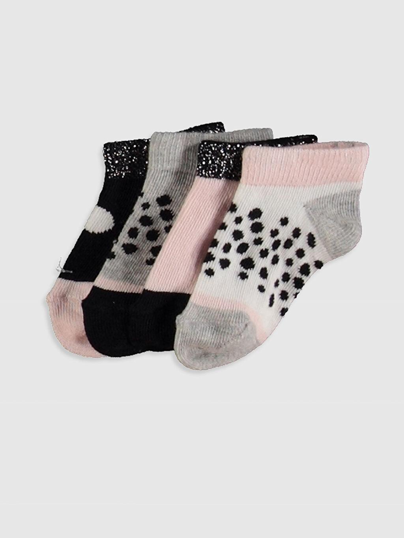 Çok Renkli Kız Bebek Baskılı Patik Çorap 4'lü 0SH255Z1 LC Waikiki