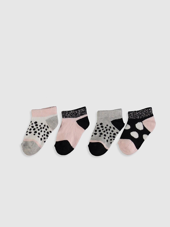 %79 Pamuk %19 Poliamid %2 Elastan  Kız Bebek Baskılı Patik Çorap 4'lü