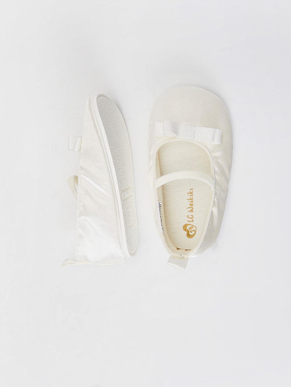 %0 Tekstil malzemeleri (%100 poliester)  Kız Bebek Fiyonk Detaylı Yürüme Öncesi Babet Ayakkabı