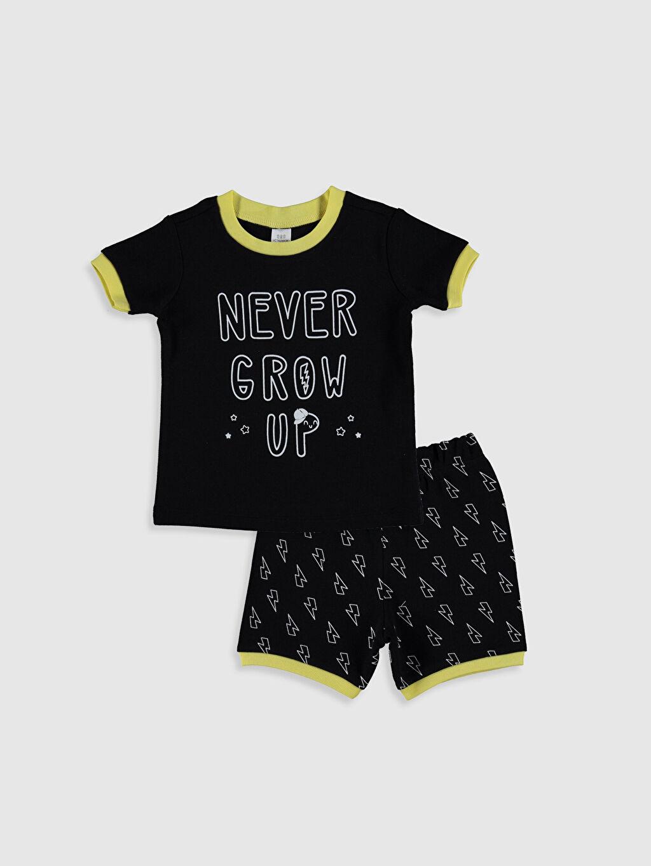 Siyah Erkek Bebek Baskılı Pamuklu Pijama Takımı 0SH453Z1 LC Waikiki