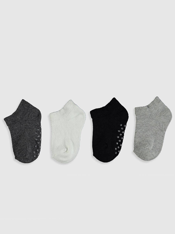 %57 Pamuk %24 Polyester %18 Poliamid %1 Elastan Düz Dikişli Günlük Orta Kalınlık Patik Çorap Erkek Bebek Patik Çorap 4'lü