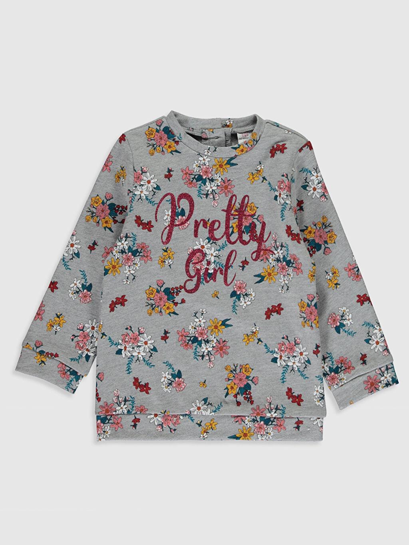Gri Kız Bebek Desenli Sweatshirt 0SH888Z1 LC Waikiki