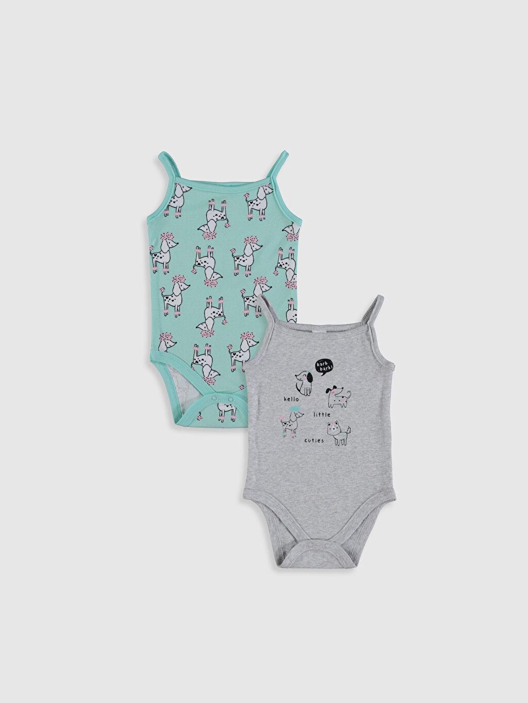 Gri Kız Bebek Desenli Pamuklu Çıtçıtlı Body 2'li 0SI269Z1 LC Waikiki
