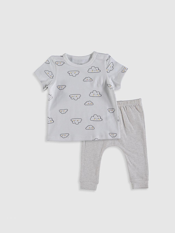 Ekru Erkek Bebek Baskılı Tişört ve Pantolon 0SI497Z1 LC Waikiki