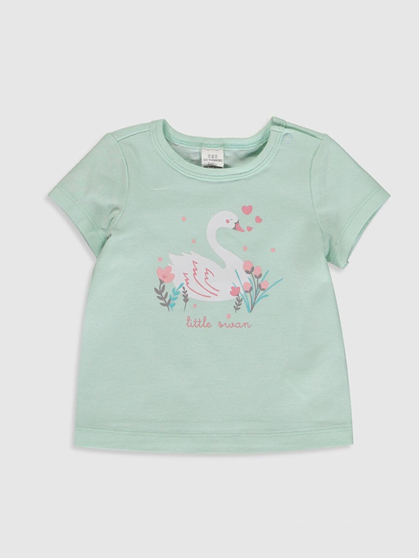 Mavi Organik Pamuklu Kız Bebek Tişört ve Pantolon