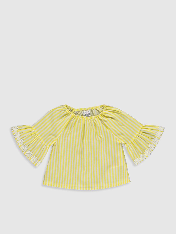 Sarı Kız Bebek Çizgili Poplin Bluz 0SI740Z1 LC Waikiki