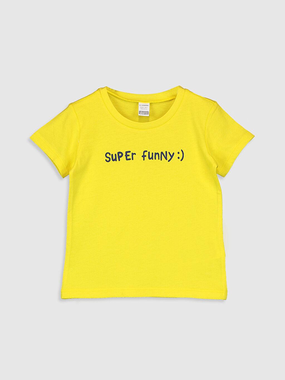 Sarı Erkek Bebek Slogan Yazı Baskılı Pamuklu Tişört 0SI908Z1 LC Waikiki