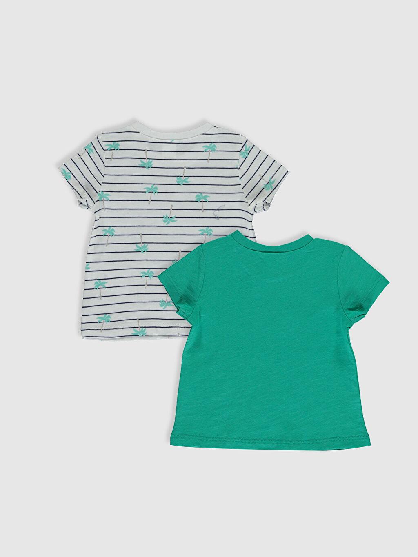 %100 Pamuk  Erkek Bebek Baskılı Pamuklu Tişört 2'li