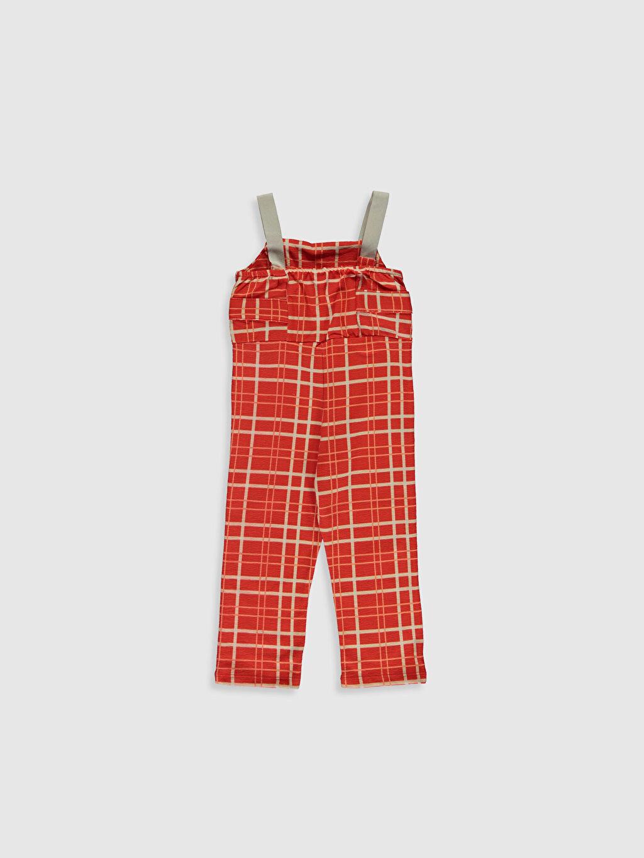 %87 Pamuk %13 Polyester Standart Kız Bebek Ekoseli Salopet