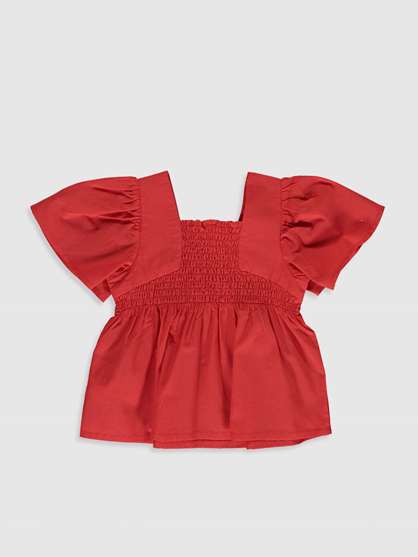 %100 Pamuk Kısa Kol Bluz Düz Standart A Kesim Kare Yaka Standart Smart Casual Poplin İnce Kız Bebek Pamuklu Basic Bluz