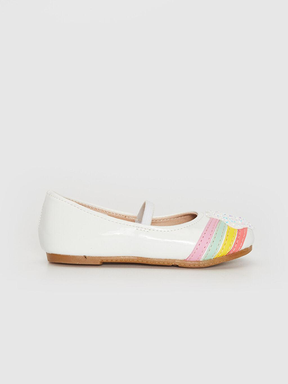 Beyaz Kız Bebek Renk Şeritli Payet Detaylı Babet Ayakkabı 0SL373Z1 LC Waikiki