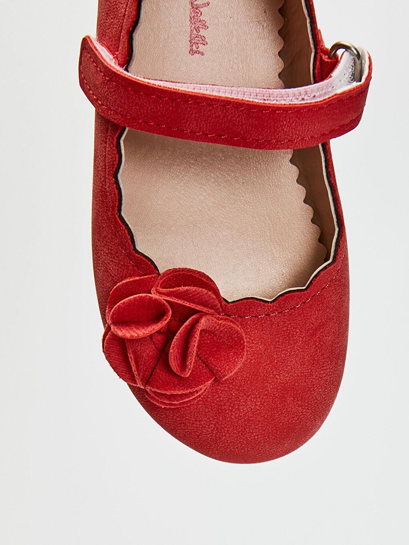 LC Waikiki Kırmızı Kız Bebek Cırt Cırtlı Babet Ayakkabı