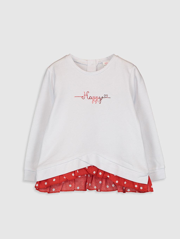 Beyaz Kız Bebek Baskılı Sweatshirt 0SL407Z1 LC Waikiki