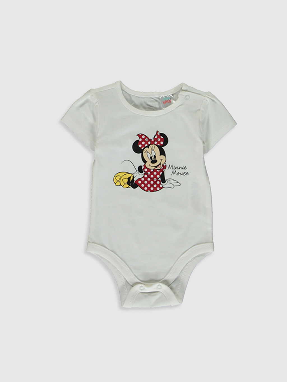 Ekru Kız Bebek Minnie Mouse Baskılı Takım 3'lü