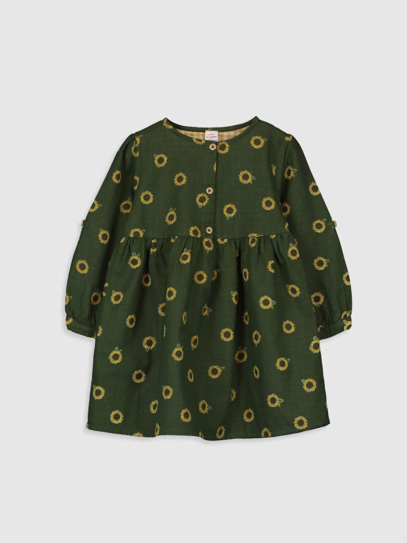 Yeşil Kız Bebek Desenli Elbise 0SM173Z1 LC Waikiki