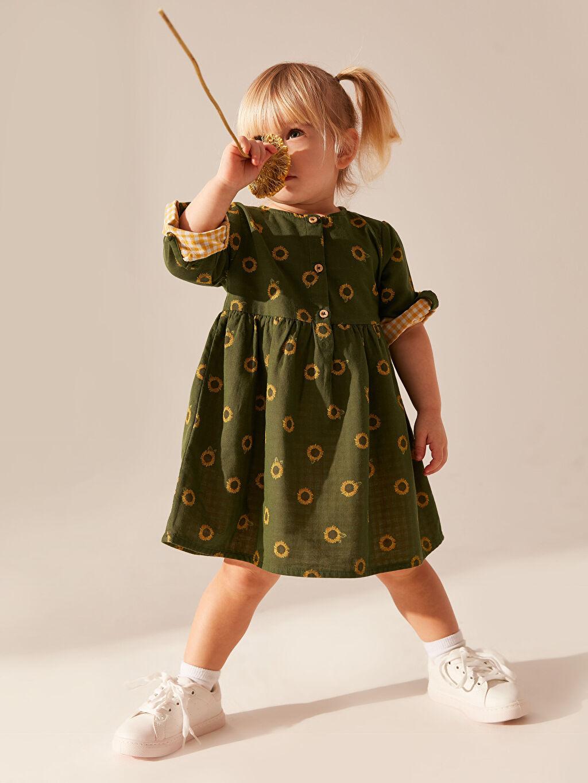 %100 Pamuk Kız Bebek Desenli Elbise