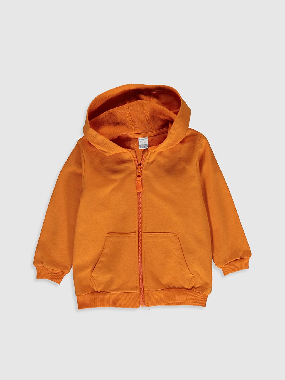 Turuncu Erkek Bebek Kapüşonlu Fermuarlı Sweatshirt 0SM376Z1 LC Waikiki