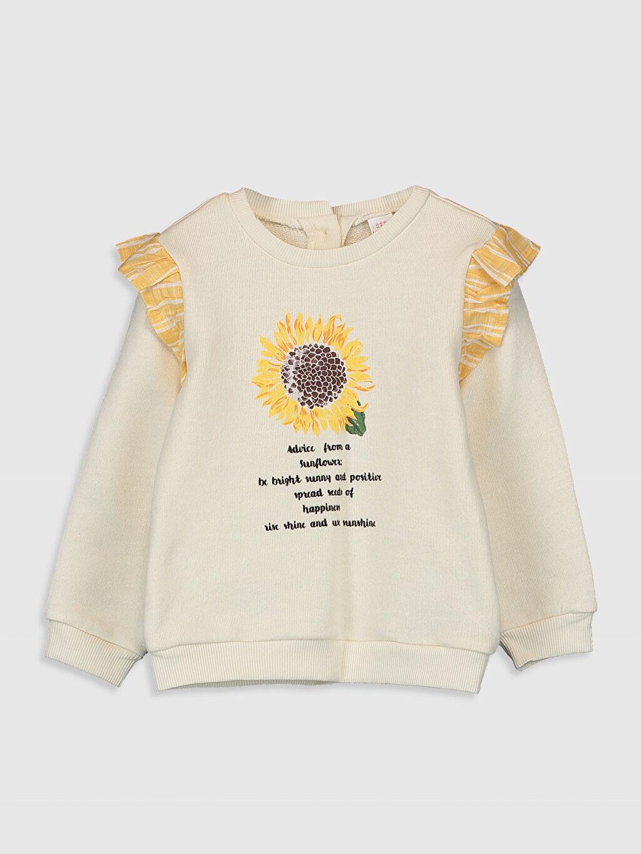 %100 Pamuk Düz A Kesim Standart Bisiklet Yaka İki İplik Smart Casual Sweatshirt Kız Bebek Baskılı Sweatshirt