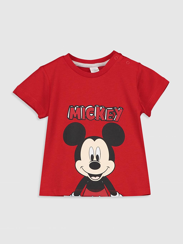 Kırmızı Erkek Bebek Mickey Mouse Baskılı Pamuklu Tişört 0SN922Z1 LC Waikiki