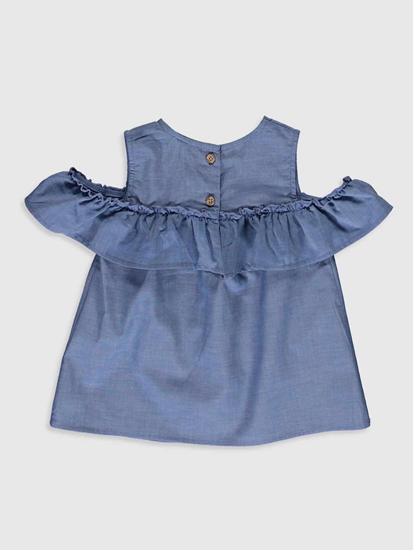 %100 Pamuk Volan İnce Bisiklet Yaka Standart Şambre Bluz Düz Standart Günlük Kısa Kol Kız Bebek Jean Bluz
