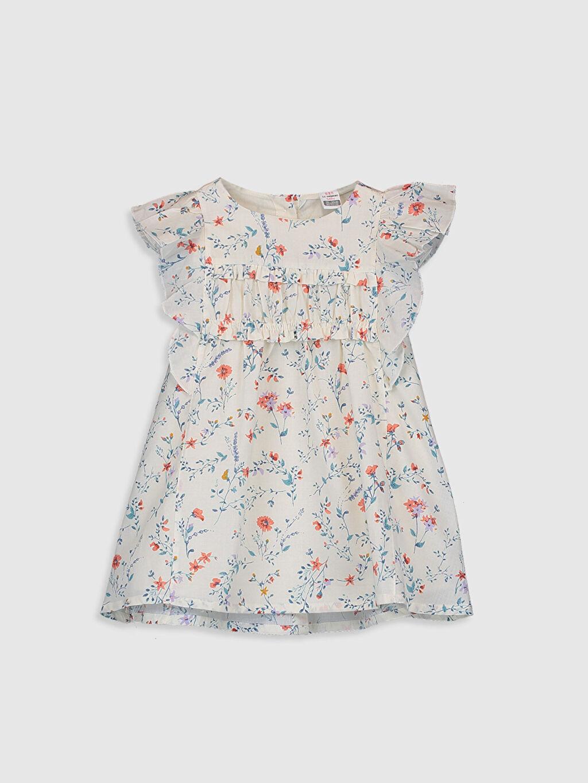 Ekru Kız Bebek Baskılı Pamuklu Elbise 0SB177Z1 LC Waikiki