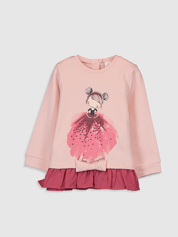 Pembe Kız Bebek Desenli Kalın Sweatshirt 0SB281Z1 LC Waikiki
