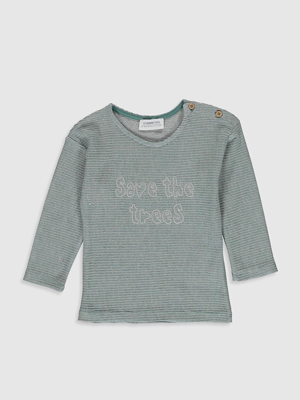 Yeşil Erkek Bebek Yazı Baskılı Sweatshirt 0SB512Z1 LC Waikiki