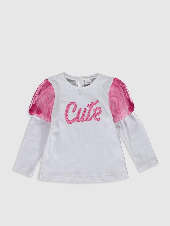 Ekru Kız Bebek Baskılı Pamuklu Tişört  0SB746Z1 LC Waikiki