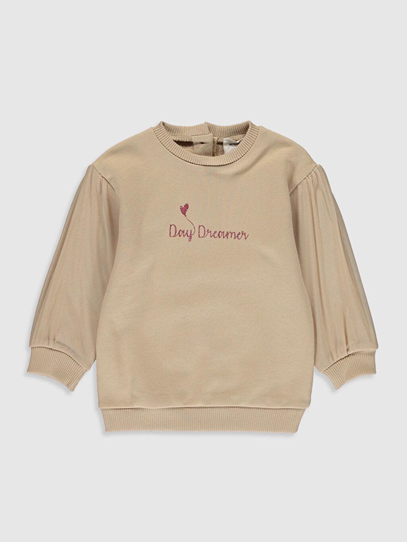 Bej Kız Bebek Yazı Baskılı Sweatshirt 0SC133Z1 LC Waikiki
