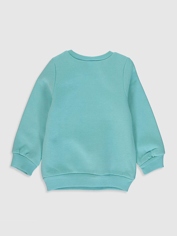 %67 Pamuk %33 Polyester A Kesim Bisiklet Yaka Günlük Üç İplik İçi Tüylü Düz Sweatshirt Standart Kız Bebek Baskılı Sweatshirt