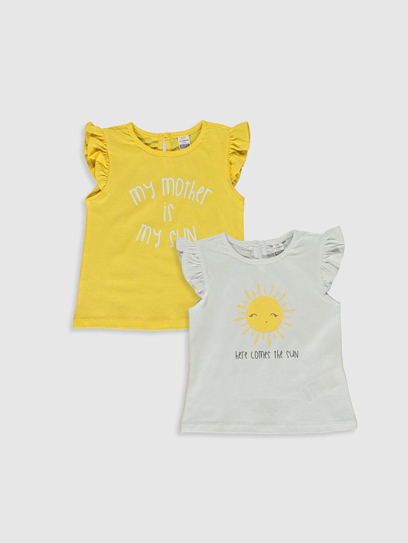 Beyaz Kız Bebek Baskılı Pamuklu Tişört 2'li  0SD692Z1 LC Waikiki