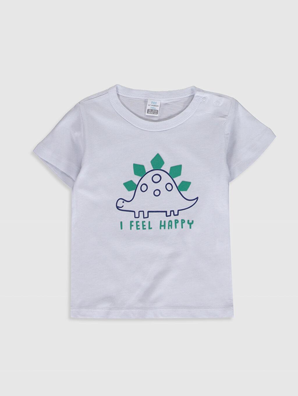 Beyaz Erkek Bebek Baskılı Pamuklu Tişört 0SE604Z1 LC Waikiki