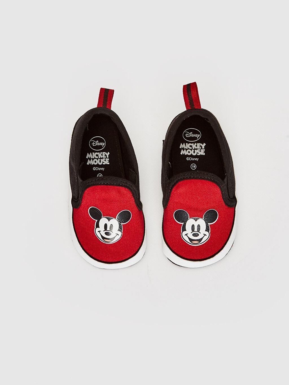 Erkek Bebek Mickey Mouse Baskılı Bez Yürüme Öncesi Ayakkabı