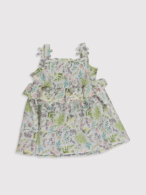 %68 Pamuk %32 Polyester Baskılı Kız Bebek Baskılı Elbise