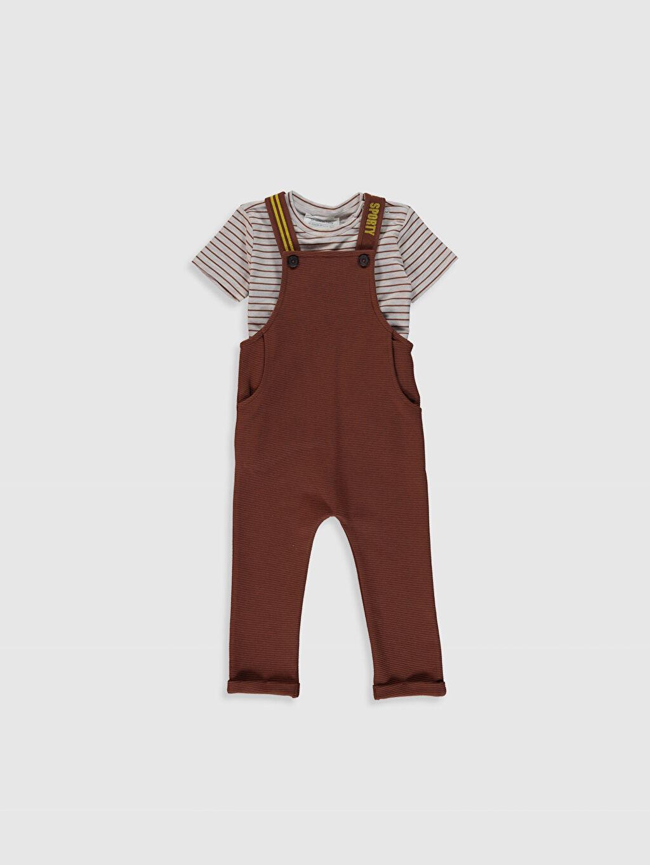 Kahverengi Erkek Bebek Tişört ve Salopet 0SP736Z1 LC Waikiki
