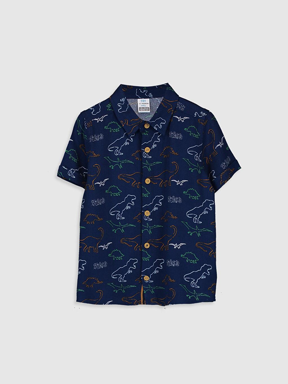Lacivert Erkek Bebek Baskılı Gömlek 0SP817Z1 LC Waikiki