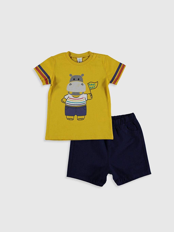 Sarı Erkek Bebek Baskılı Tişört ve Şort 0SQ277Z1 LC Waikiki