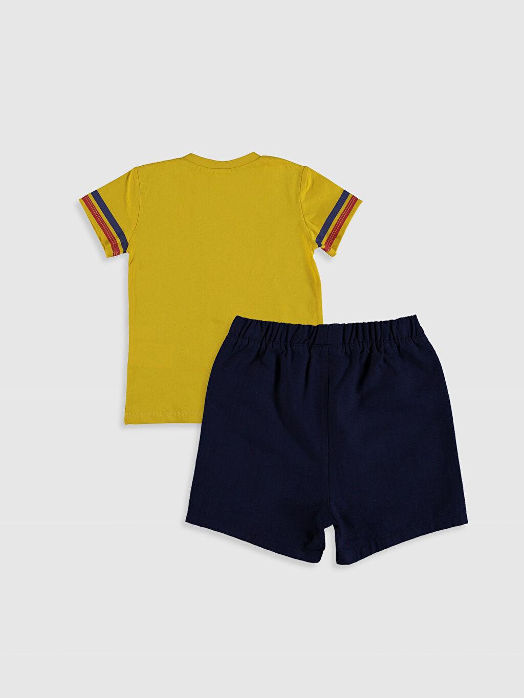 %100 Pamuk %100 Pamuk %100 Pamuk Standart Günlük Takım Erkek Bebek Baskılı Tişört ve Şort