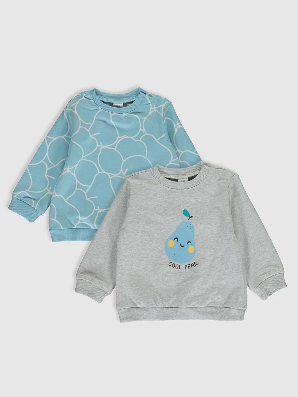 Ekru Erkek Bebek Baskılı Sweatshirt 2'li 0SQ834Z1 LC Waikiki