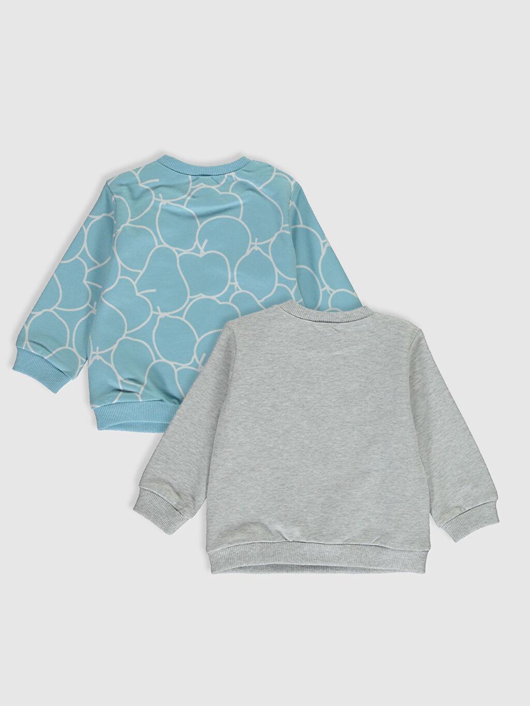 %100 Pamuk  Erkek Bebek Baskılı Sweatshirt 2'li