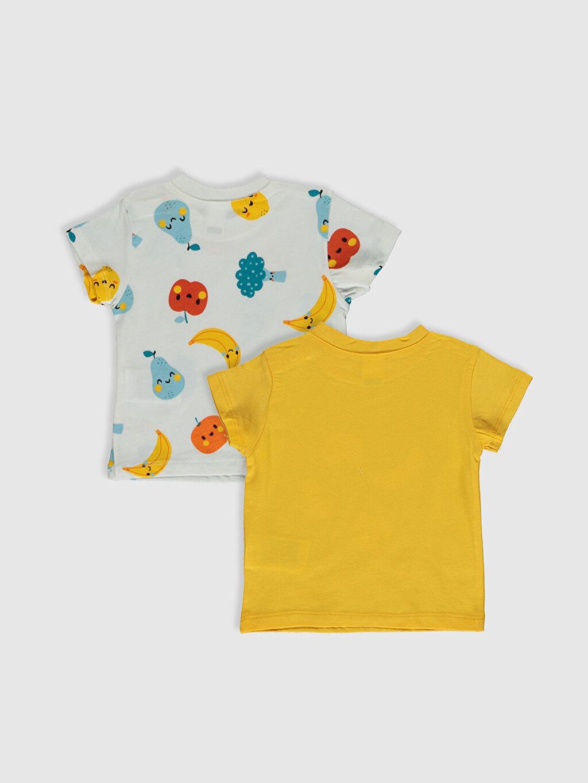 %100 Pamuk Bisiklet Yaka Süprem Çıtçıtlı Body Erkek Bebek Pamuklu Baskılı Tişört 2'li
