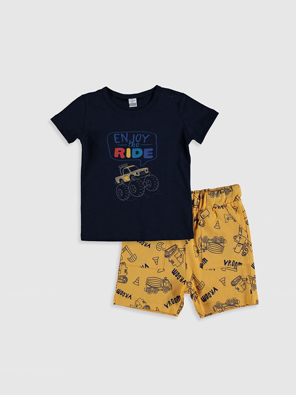 Lacivert Erkek Bebek Baskılı Tişört ve Şort 0SS086Z1 LC Waikiki