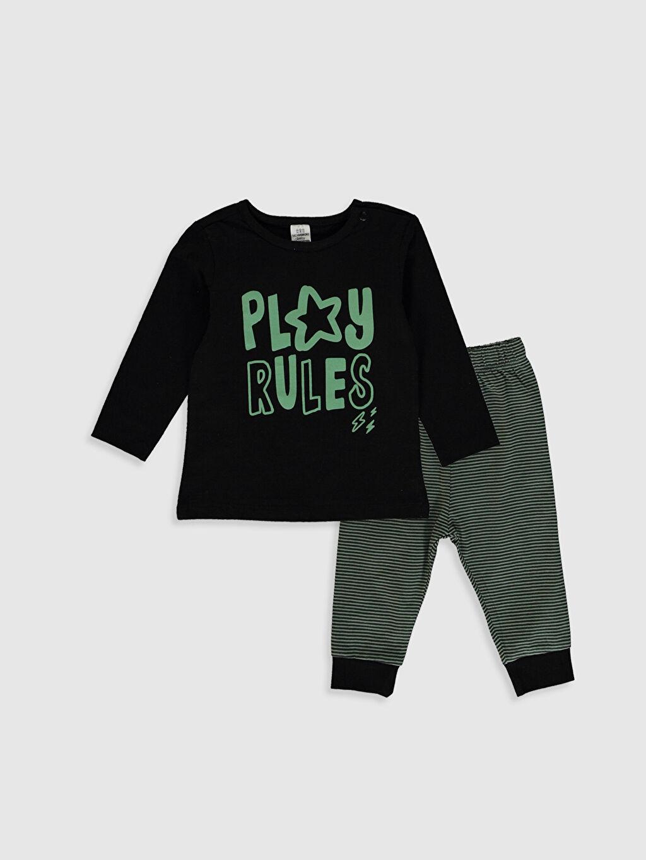 Lacivert Erkek Bebek Baskılı Pamuklu Pijama Takımı 0SS391Z1 LC Waikiki