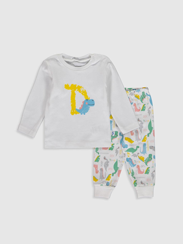 Ekru  Luggi Baby Yenidoğan Baskılı Pijama Takımı 0ST225Z1 LC Waikiki