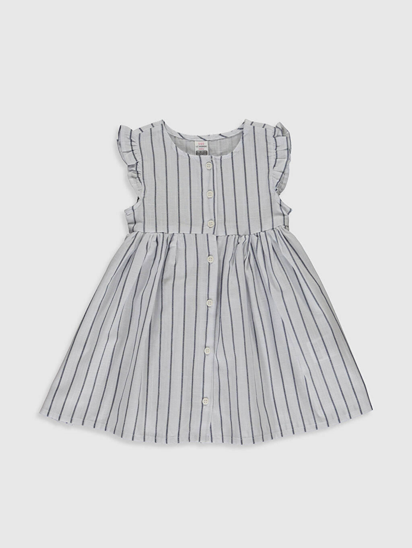 Lacivert Kız Bebek Çizgili Pamuklu Elbise 0SU640Z1 LC Waikiki
