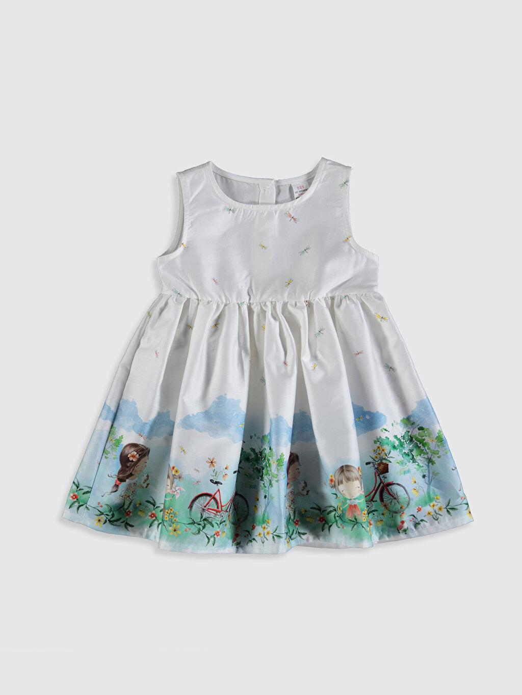 Ekru Kız Bebek Desenli Pamuklu Elbise 0SU644Z1 LC Waikiki