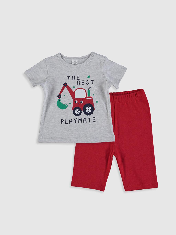 Gri Erkek Bebek Baskılı Pijama Takımı 0SV758Z1 LC Waikiki