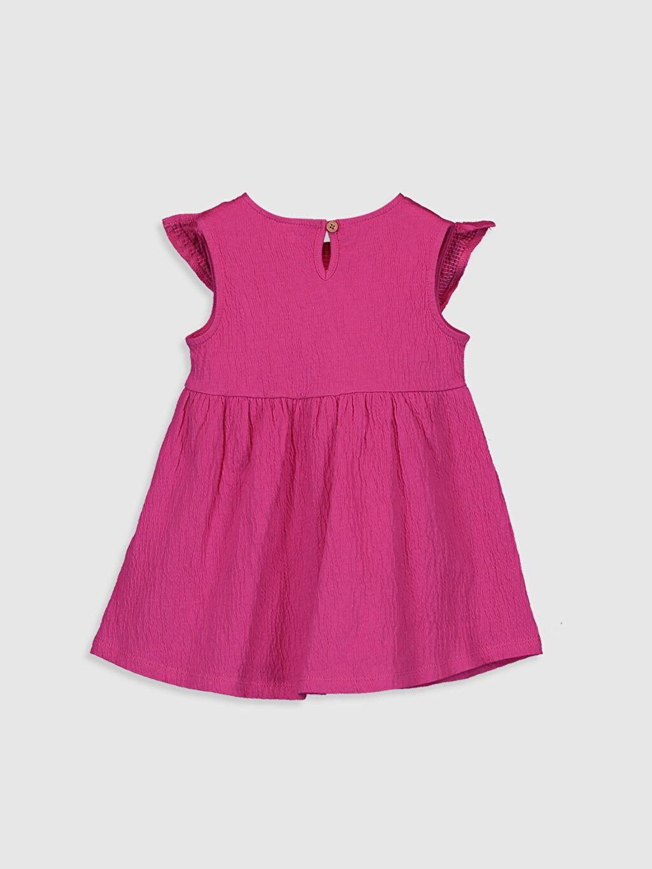 %97 Pamuk %2 Polyester %1 Elastan Düz Kız Bebek Fırfırlı Elbise
